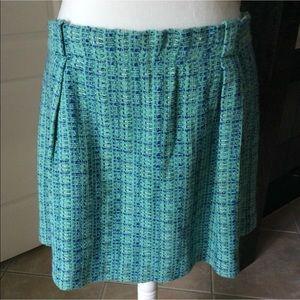 J.Crew Boucle Aqua Silver Metallic Tweed Skirt 12